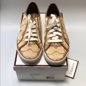 Coach khaki color Size 7M sneaker. Hardly worn.